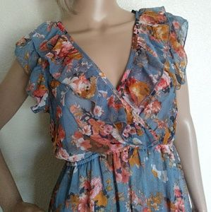 Forever 21 Sheer Floral Ruffled Dress Medium